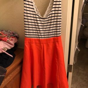 Stripes and coral party dress